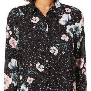Spense Womens Floral Dot Button Down Top